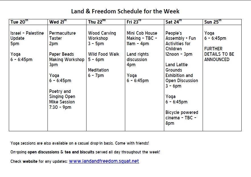 Land&Freedom Schedule